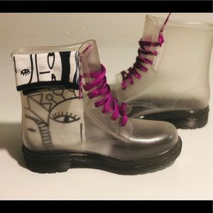 Clear rain lace boots